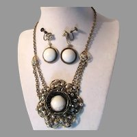 Miriam Haskell Gold Tone White Glass Faux Pearls Necklace Earrings Set