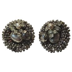 Miriam Haskell Signed Clip Earrings Silvery Beads Faux Pearls
