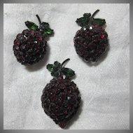 Warner  Red Rhinestone Cherries Pin Earring Set