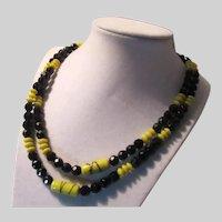 Black & Yellow Art Glass Beads Necklace