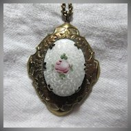 Old White & Pink Rose Enamel Locket On Chain