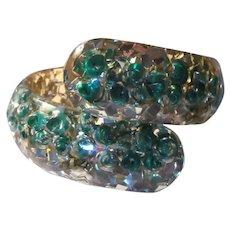 Green Gold Glittery Lucite Bracelet