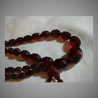 Faceted Cherry Amber Beads  Necklace