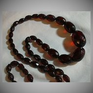Long Faceted Cherry Amber Beads Necklace
