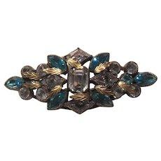 Brooch With Rich Aqua Blue Glass Stones