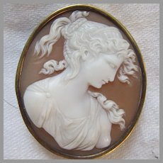 Rare Old Cameo 10K Gold & Carved Shell Diana
