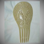 Old Ivorine Celluloid Decorative Hair Comb