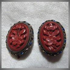 Old Cinnabar Clip Earrings