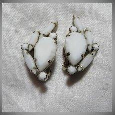 White glass Clip Earrings