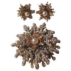 Miriam Haskell Signed Brooch Clip Earring Set  Faux Pearls