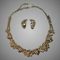 Lovely Rhinestone Necklace Clip Earring Set