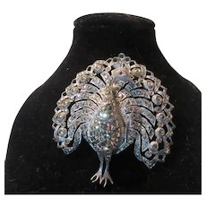 Sterling Silver Peacock Bimesa Watch Brooch Pin Swiss Movement