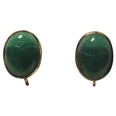 Gold Filled Green Stone Scarab Clip Earrings