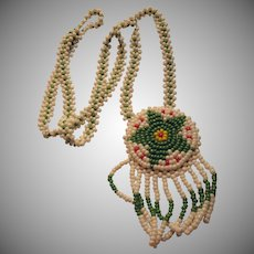 White Green Beaded Necklace Southwestern Style