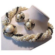 White Faux Pearls With Black & Gold Accents