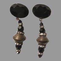 Black Ornate Long Dangle Clip Earrings Sorrelli Signed