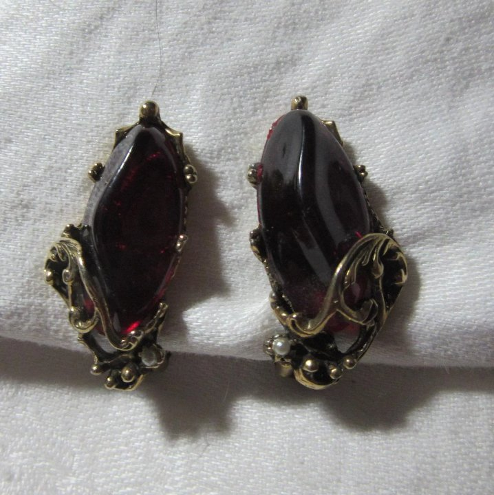 Old Red Cherry Amber Earrings
