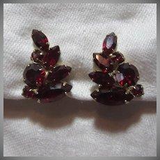 Weiss Red Rhinestone Clip Earrings