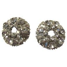 Rhinestone Elegant Circular Clip Earrings
