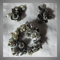 Robert Brooch & Clip Earring Set Silver Tone Wreath Circle Haskell Style