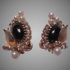 Hobe Signed Black & Gold Metal Ornate Clip Earrings