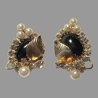 Hobe Black Gold Metal & Faux Pearl Clip Earrings