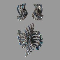Signed Hobe Blue Iridescent Rhinestone Brooch Clip Earring Set