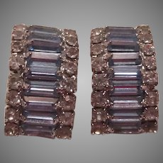 Light Blue Glass Rhinestones Clip Earrings