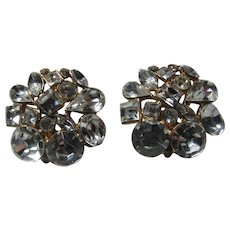 Rhinestone Or Glass Stones Clip Earrings Large Brilliant