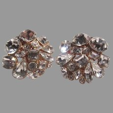 Fine Rhinestone Clip Earrings Sparkly
