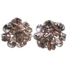 Fine Rhinestone Clip Earrings Sparkly