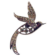Lovely Silver Tone and Rhinestone Bird Dove Pin