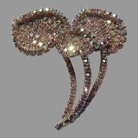 Fabulous Aurora Borealis Rhinestones Large Flower Mushroom Brooch PIn