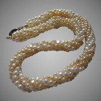 Cultured Pearls Small Braided Strands Two Tone Necklace