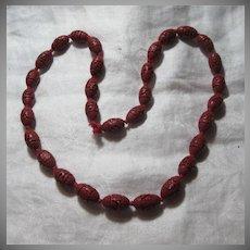 Red Cinnabar Beads Necklace