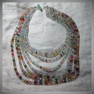 Rare Old Coro Multicolor Crystals Beaded Draped Necklace