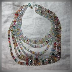 Rare Old Coro Multicolor Crystals Beaded Draped Necklace