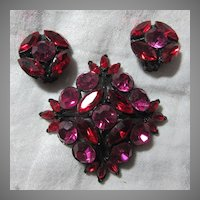 Red & Fuschia Pink Rhinestone Brooch Earring Set