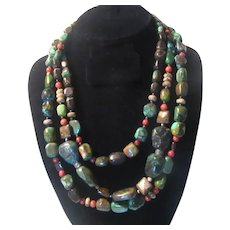 Triple Strand Necklace Turquoise Coral Other Stones