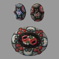 Italian Mosaic Brooch Pin Earring Set