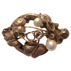 Antique Brooch Pin Gold Filled Pearls