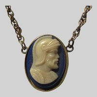 Old Tie Bar With Blue Glass White Cameo Pendant