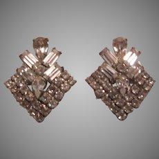 Weiss Rhinestone Clip Earrings Classic Design