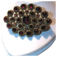 Fine Brooch Pin Garnet Red Stones