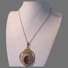 Gold Tone Pendant On Chain Necklace Pale Violet Stone
