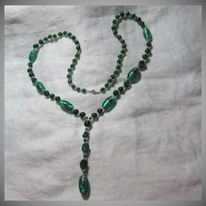 Old Emerald Green Glass Beads Necklace