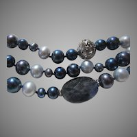 Blue Cultured Freshwater Pearls Necklace