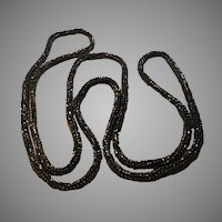 Black Tiny Glass Seed Beads Crochet Rope Necklace