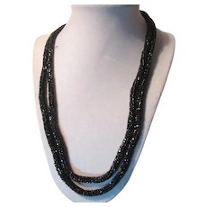 Sparkly Black Beads Crochet Woven Rope Long Necklace