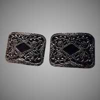 Black With Cut Steel Overlay Pair Shoe Buckles